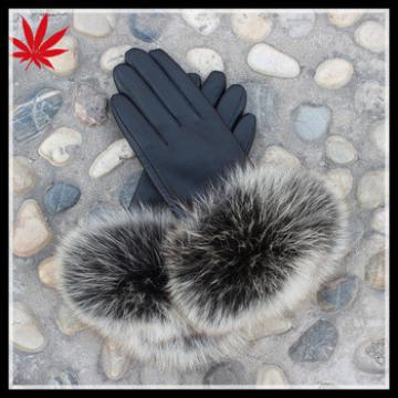Ladies winter leather gloves with genuine fox fur trimed