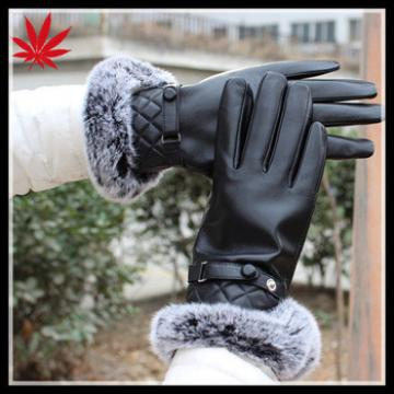 Ladies winter leather gloves with rabbit fur