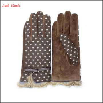 Lady's simple style spandex velvet warm gloves with supersoft polyester lining