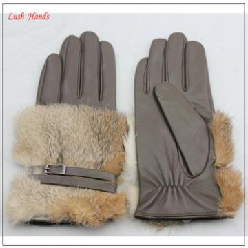 Brown women leather gloves with rabbit fur back