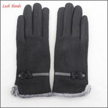 ladies wholesale fashion black micro velvet hand gloves with fur ending