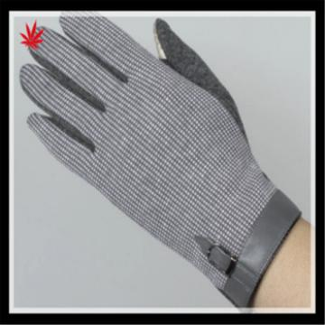 Lady's fashion touch-screen warm spandex velvet gloves with leather cuff