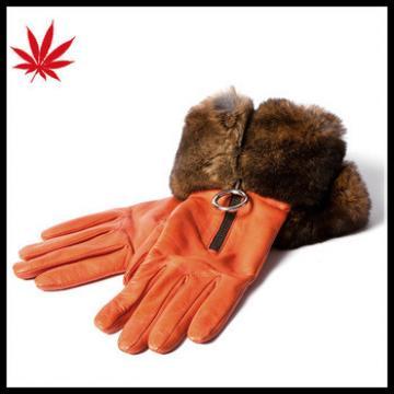 Orange Fur leather gloves make women has queen style