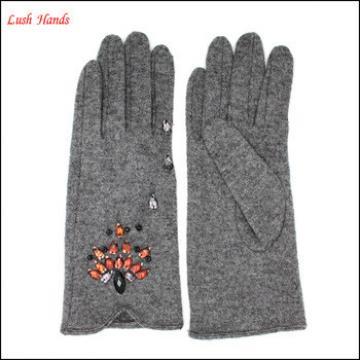 Hot sales women fashion diamond embellish woollen gloves