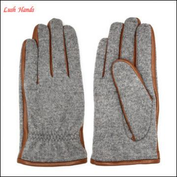 woolen gloves with fake fur men's fashion woolen and leather stitch touch screen gloves