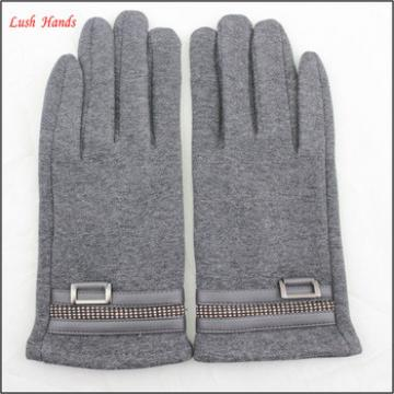 wholesale grey micro velvet hand gloves touch screen gloves