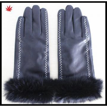 Rabbit fur trim leather gloves women leather gloves