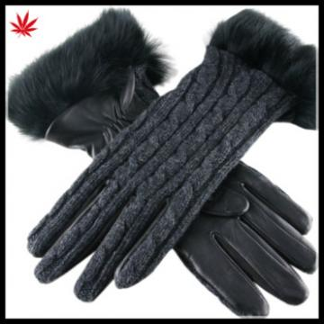 lady's fashion knitting splicing black leather gloves with fur