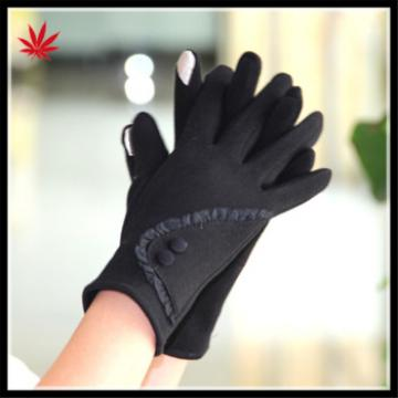 ladies micro velvet gloves with buttons for wholesale