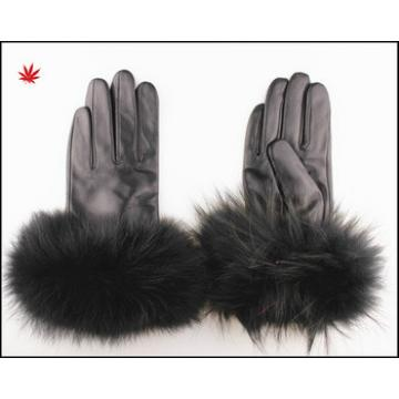 Ladies leahter gloves with rex rabbit fur trim