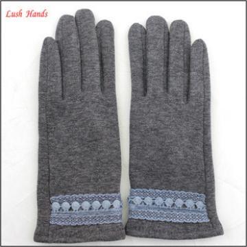 2016 spring mirco velvet hand gloves for women with lace