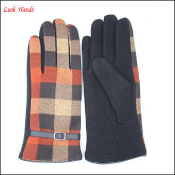 women's decent spandex micro velvet checker gloves with leather belt for wholesale