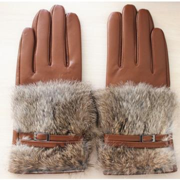 ladies sheepskin leather rabbit fur glove belt fashion lady leather gloves