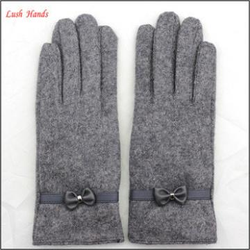 cheap woolen top 2016 spring hand gloves women with belt and bow