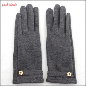 2016 new style ladies warm woolen gloves with braid belt for wholesale