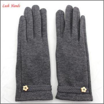 ladies simple grey micro velvet hand gloves with belt