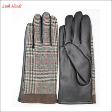 Lady's fashion leather-cloth warm gloves with supersoft polyester lining