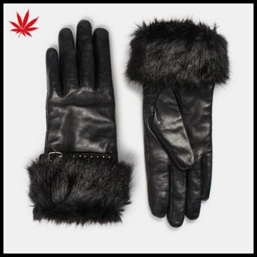 Ladies black leather gloves with belt and rabbit fur cuff
