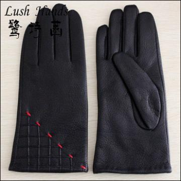 Black fancy winter warm leather gloves with red line