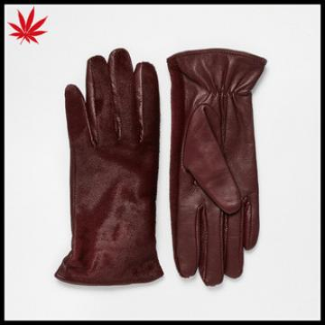 Ladies dark red Whistles Pony Front Leather Gloves