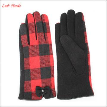 ladies spandex velvet houndstooth gloves with little bow