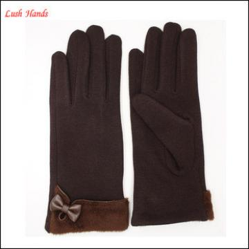 ladies fashion black micro velvet gloves with small bow