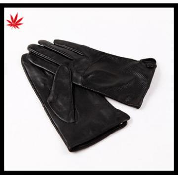 2016 new style pinholing police mens black leather gloves with wholesale price