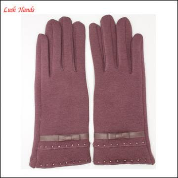 ladies micro velvet factory gloves with polyester lining