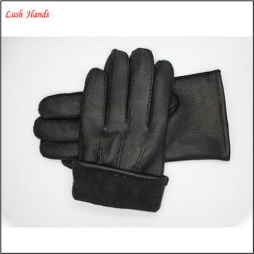 lady's black fashion genuine sheepskin leather gloves for wholesale with three back stitches