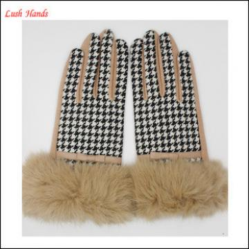 2016 Fashion ladies checked wool gloves with real rabbit fur cuff