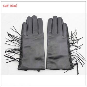 genuine black thin fringed leather gloves with polyester lining