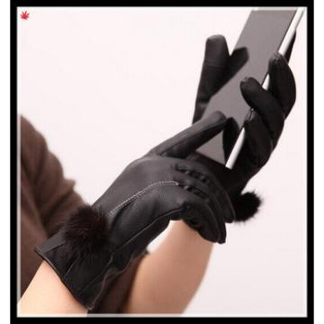 lady's touch-screen black genuine leather gloves with black rabbit fur ball