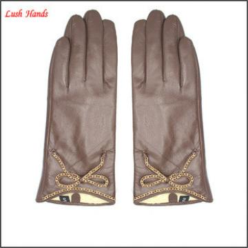 2016 ladies lace sexy brown genuine sheepskin touch-screen leather gloves for smart phone
