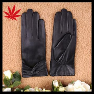 Women's sheepskin Leather Cold Weather Gloves with Crossing Bow