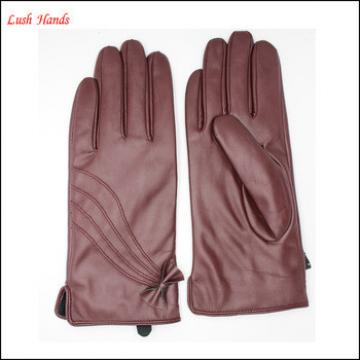 ladies and women's wine red leather gloves with Quilting and bow back