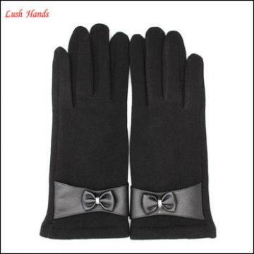 ladies black micro velvet winter gloves for wholesale