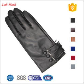 2017 high quality ladies fashion new style tassel genuine sheepskin leather gloves