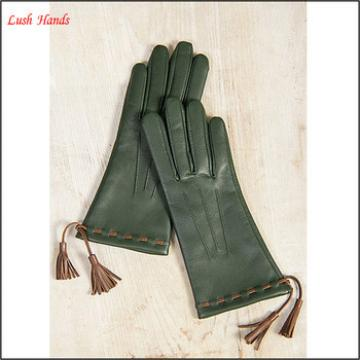 Ladies genuine leather hand gloves with tassels decorated
