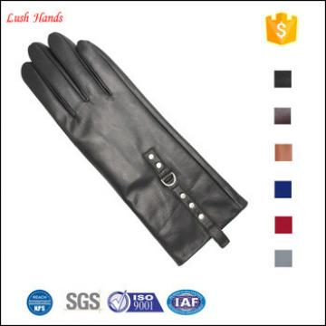 2017 New style women long leather gloves with Rivet. Metal ring adornment the length is 11 inches long leather gloves