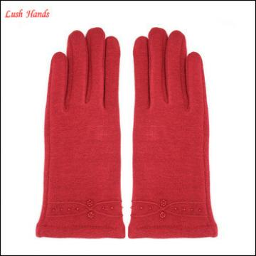 ladies popular micro velvet fashion gloves with delicate cuff