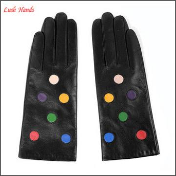 Lady's Lambskin Leather Circle Pattern Winter Warm Fashion Gloves