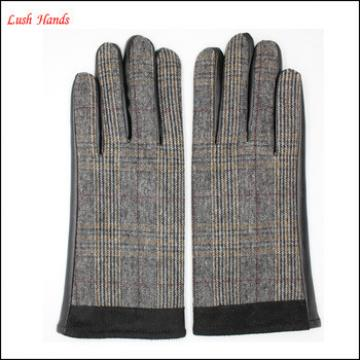 ladies high-quality gloves with checked woolen handback and sheepskin palm