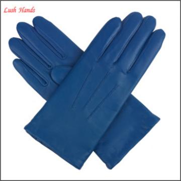 Womens warm lined leather gloves-Navy blue