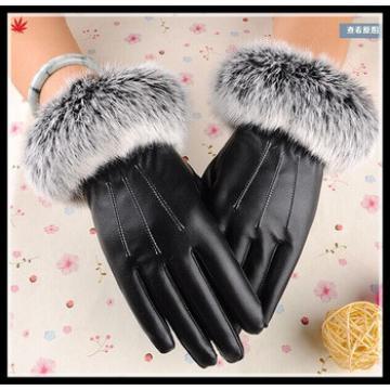 Lady's genuine rabbit fur cuff sheepskin leather gloves for wholesale
