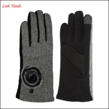 Cloth fabric and woolen combined gloves with fashion fur ball