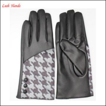 Lady's fashion mohair houndstooth leather gloves with supersoft polyester lining