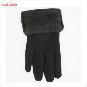 ladies simple black winter woolen gloves with faux fur cuff