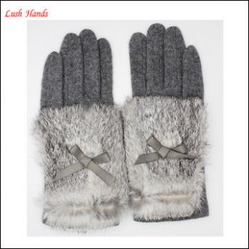Hot selling ladies woolen gloves with real rabbit fur cuff