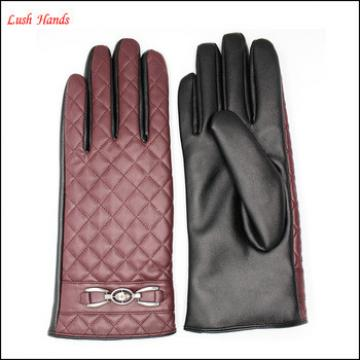 2016 ladies Pu leather glove classic embroidery and metal accessories two tone red and black PU leather gloves design ,