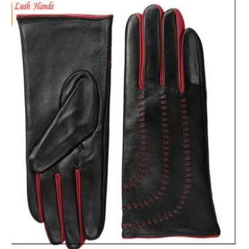 Ladies black finger and thum glove dress leather gloves